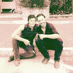 The walking dead!!!! Love these guys!!!Norman Reedus and Andrew Lincoln