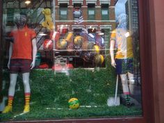Just found cute window display from ATRIUM NYC on Broadway, I think World Cup is taking over Fashion in NEW YORK. Ny Fashion, Visual Merchandising, World Cup, Soccer, New York, Windows, Store, Cute, Futbol