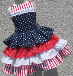 Custom Boutique Stars Stripes Navy Red White by hottotscoolkids2, $89.00