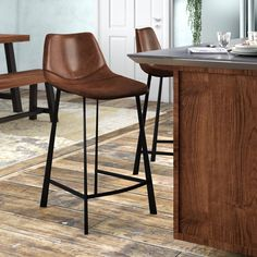 Counter Stools With Backs, Swivel Counter Stools, Bar Counter, Brown Bar Stools, Leather Bar Stools, Bar Chairs, Dining Chairs, Off White Kitchens, Oak Hill