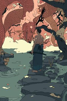 water dragon / another high level water manipulation [artist: Cassandra Jean] Art And Illustration, Art Illustrations, Pretty Art, Cute Art, Art Japonais, Samurai Art, Aesthetic Art, Asian Art, Japanese Art