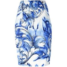 Versace Collection printed pencil skirt (€265) ❤ liked on Polyvore featuring skirts, white, print skirt, white skirt, white pencil skirt, patterned skirts and pencil skirt