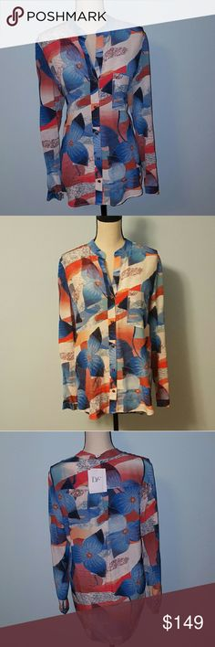 Diane von Furstenberg Abstract Silk Blouse Diane von Furstenberg Abstract Silk Blouse. Size 10, New with tags.  Approximate measurements: 30 inches Total Length 36 inches Bust Around Diane von Furstenberg Tops Blouses