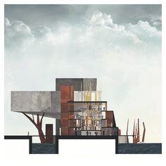 """트위터의 Spiros Koulias 님: """"{ distillery + theatre } // hybrid // section drawing // awesome work by @gekktor ▲ #iArchitectures #architecture #… https://t.co/dOt5ZtIsoA"""""""