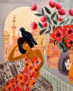 Inspired by Arab culture, worldly travelDutch-Egyptian artist Roeqiya Fris's spirited illustrations. Inspired by Arab culture, worldly travel Buch Design, Art And Illustration, Art Paintings, Art Inspo, Fries, Cool Art, Art Drawings, Art Photography, Artsy