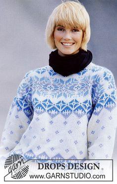 DROPS jumper with ice star pattern borders in Alaska. Sweater Knitting Patterns, Knit Patterns, Clothing Patterns, Drops Design, Knitwear Fashion, Sweater Fashion, Fair Isle Knitting, Free Knitting, Crochet Girls