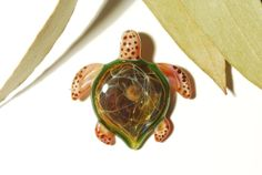 Sacred Earth Turtle - Glass Turtle Necklace Pendant  by CreativeFlowGlass at www.glassnecklacependants.com