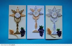 First Holy Communion Quilling Card Quilling Designs, Quilling Cards, Paper Quilling, First Communion Banner, First Holy Communion, Origami, Religious Symbols, Baby Shower, Holi