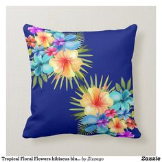 Shop Tropical Floral Flowers hibiscus blue yellow mix Throw Pillow created by Zizzago. Blue Yellow, Purple, Xmas Cards, Floral Flowers, Custom Pillows, Hibiscus, Tropical, Tapestry, Throw Pillows