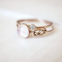 Moonstone and Diamond Ring Set in 14k Gold   https://www.luxuring.ca  #handmade #rings #engagementring #rosegold #luxuring