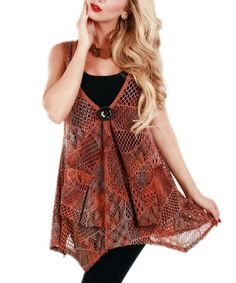 Look what I found on #zulily! Rust Sheer Patchwork Tunic by Lily #zulilyfinds