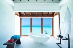 Anantara Dhigu Maldives Resort, Maldives — beaches, booze, and bungalows Maldives Wedding, Maldives Beach, Maldives Honeymoon, Visit Maldives, Maldives Resort, Maldives Travel, Chic Bathrooms, Amazing Bathrooms, Hotel Bathrooms