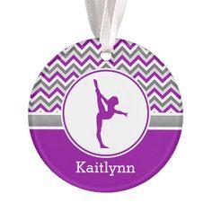 Purple Chevron Gymnast Personalized Ornament