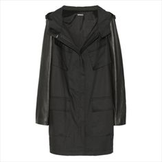 Hooded Leather-Sleeved Cotton-Twill Coat - DKNY