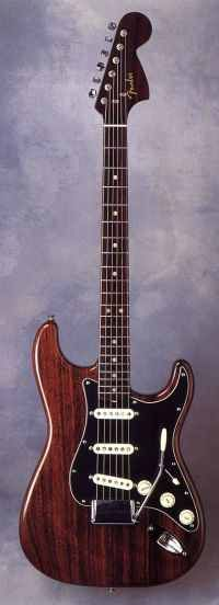 This is the (now missing) Jimi Hendrix all rosewood Strat. Fender built 2 legendary rosewood guitars - the first was a Telecaster for George Harrison (delivered in 1969 and used on Let it Be and Abby Road) and the 2nd - finished in April 1970 was this Strotocaster made for Jimi. It was never delivered - probably because Jimi died shortly after. This Strat is now missing. Fender Japan did some copies in the 80's.