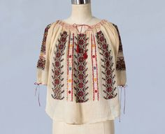 1920s Blouse /Folk Romanian Embroidered Peasant Blouse from Guermantes Vintage