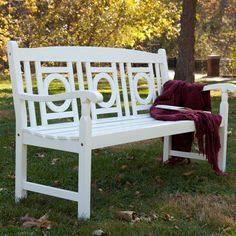 Nice Painted Wood Garden Bench   White   Outdoor Benches At All