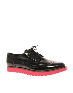 ASOS MAYBE Leather Brogues With Contrast Tread Sole