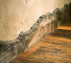 Natural Edge Baseboards. Really inspiring! Barn Wood Walls, Reclaimed Wood Floors, Reclaimed Wood Furniture, Reclaimed Wood Bedroom, Reclaimed Wood Countertop, Rustic Wood Bench, Unique Wood Furniture, Rustic Floors, Reclaimed Wood Kitchen