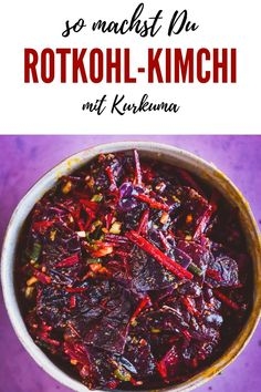Recipe for red cabbage kimchi - cooking makes you happy - Recipe for red cabbage kimchi – cooking makes you happy - Red Cabbage Kimchi Recipe, Red Cabbage Recipes, Easy Chinese Recipes, Asian Recipes, Healthy Recipes, Healthy Food, South Korean Food, Korean Street Food, Chutney