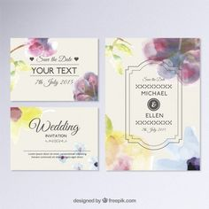 handdrawn vector free download watercolor wedding invitation / Handgemalte Hochzeitseinladung Kostenlose Vektoren