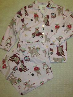 NICK & NORA Sz XXL Cotton Pajama Set Sock Monkey Bowling San Simian Pink L/S #NickNora #PajamaSets