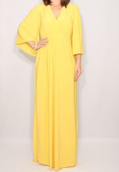 Yellow maxi dress Long dress Kimono dress Women by dresslike