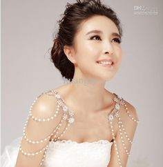 Wholesale Wedding Dress - Buy Pearl Necklace Fashion Bridal Jewelry Diamond Chain Rhinestone Shoulder Strap Wedding Dress 2, $32.57 | DHgate
