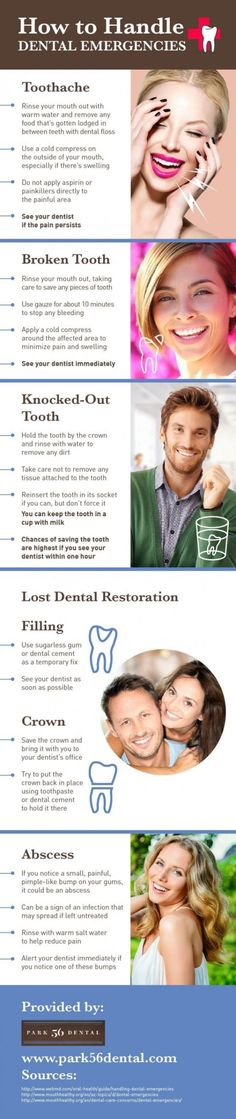 Always rinse your mouth out after you break a tooth! You can also use gauze to stop bleeding and hold a cold compress to the painful or swollen area. Pick up more tips on dental emergencies by reading this infographic. (Diet Workout Running) Dental Hygiene School, Dental Humor, Dental Assistant, Dental Hygienist, Dental World, Dental Life, Oral Health, Dental Health, Public Health