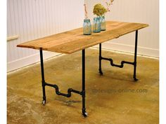 Pipe+Farm+Table+by+MyFavoriteThingsShop+on+Etsy,+$1,100.00