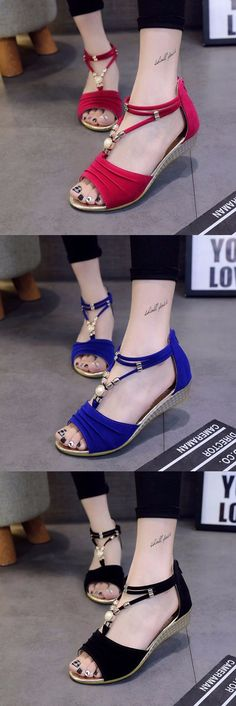 US$11.05 Bead Strappy T Strap Zipper Peep Toe Flat Wedge Heel Sandals