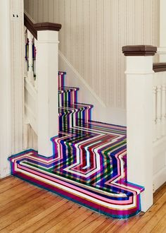 uncletomscabbage: vinyl tape on stairs- jim lambie i would trip up those stairs everyday
