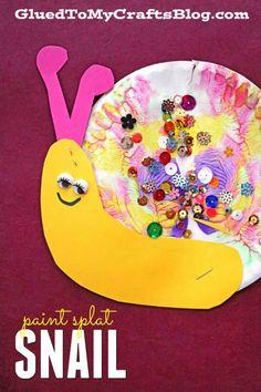Paint Splat Snail - Kid Craft Idea #gluedtomycrafts Paper Plate Snail