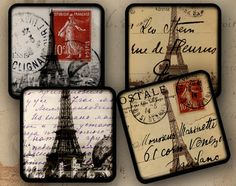 Paris chic coasters Eiffel tower - would look great in a frame in my bathroom Coaster Crafts, Diy Coasters, Paris Bathroom, Paris Gifts, Themed Gift Baskets, Paris Chic, Paris Theme, Plait, Collage Sheet