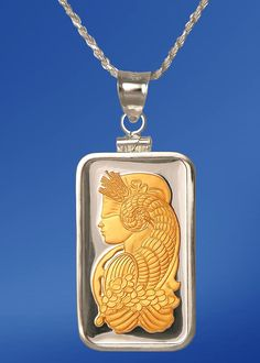 Aurista's Pamp Fortuna Fine Silver Bar Necklace with 24KT Gold Highlights