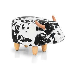 JOYBASE Washable Animal Kids Footrest Stool/Bench Soft Plush Ride on Ottoman Seat for Children and Adults (Cow) Kids Table And Chairs, Kid Table, Kids Furniture Online, Furniture Stores, Kids Sofa, Bookshelves Kids, Kids Ride On, Animals For Kids, Cow