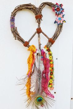 GYPSY DREAM Love Heart Wreath Peace Dream Catcher por Run2theWild