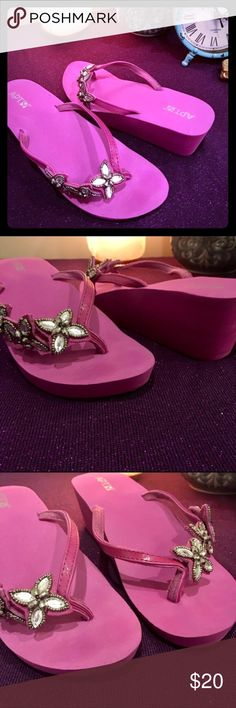 Apt.9 Purple Jeweled Foam Wedges 10 Size 10 Purple Apt.9 foam wedges excellent condition. 🌟 Make an offer 🌟 Apt. 9 Shoes Wedges
