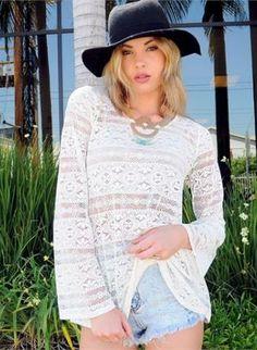 Bell Sleeves and Boho White Crochet Top www.UsTrendy.com