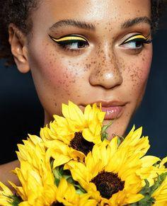 Graphic black and yellow cat eye make-up <3 by Vlada Haggerty, MUA