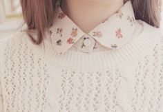 white knitted sweater + floral blouse