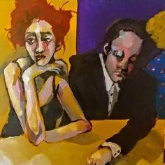 Original Acrylic Painting 12 x 12 x 1.5 Love at a Bar bar