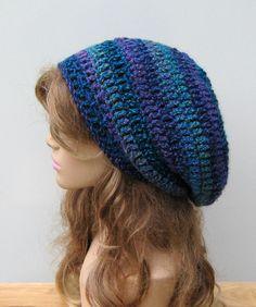 Caribbean Blue beanie, Tam Dread hat, Hippie Slouchy beanie, smaller Dreadlocks Crochet Beanie, woman beanie,