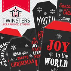 Printable Chalkboard style Christmas tags png  TW110  by Twinsters