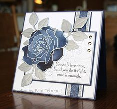 airbornewifes stamping spot: An Anniversary card.. in Dallas Cowboys colors Wednesday, November 16, 2011UP!  Fifth Avenue Floral,  Stampin' UP! embossing folder (rose and textured)