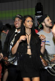 Total babe Chanel Iman attends the Paper Magazine Neon Carnival in the Nasty Gal Sheer Force Harness Bra   Photo Credit: http://www.zimbio.com/pictures/6FI9jshTiHy