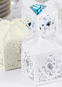 "Perfect for weddings, showers or parties! Shimmer favor boxes are die-cut with a sweet, lacy heart design on all four sides. It is recommended to use wrapped candies or liners when placing food into any type of favor box or container. Features and Facts:   2"" x 2"" x 2 3/4""  Pack of 25  Some assembly required  Sheer ribbon included"