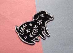 Floral Dog Iron on patch