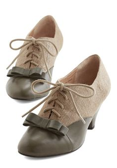 1930s shoes:  Vintage Inspired A Sheen Sweep Heel in Olive $79.99