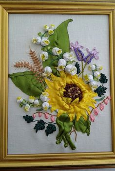 silk ribbon embroidery floral design bunch of by Mariniembroidery